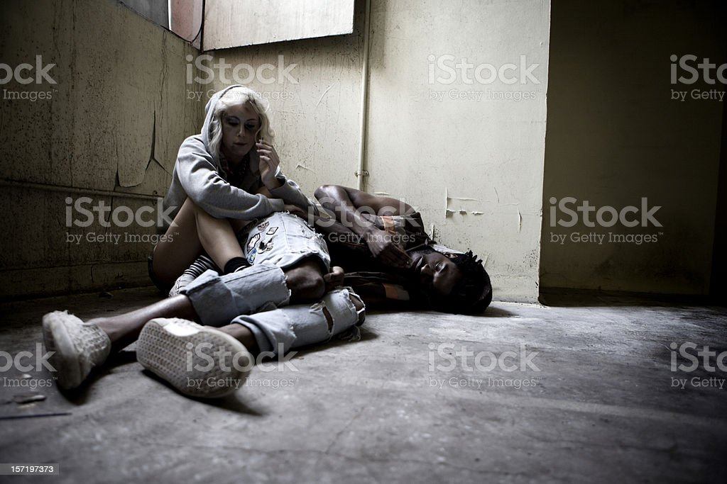 Drug addicts finding solace in their vice stock photo