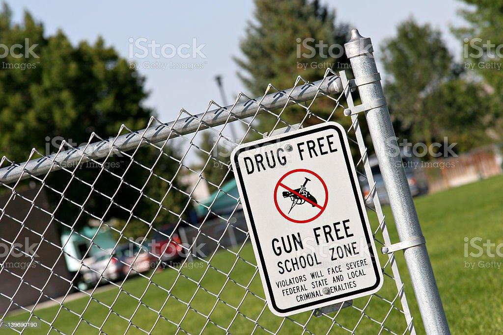 drug and gun free school zone stock photo