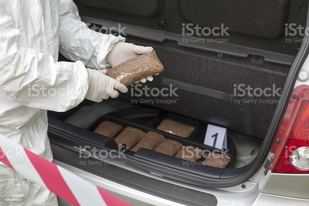 Drug bundles smuggled in a car trunk stock photo