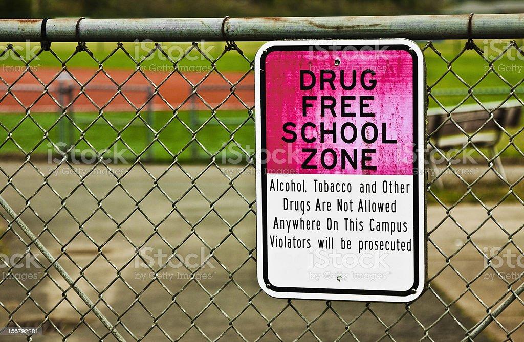 Drug Free School Zone Sign stock photo