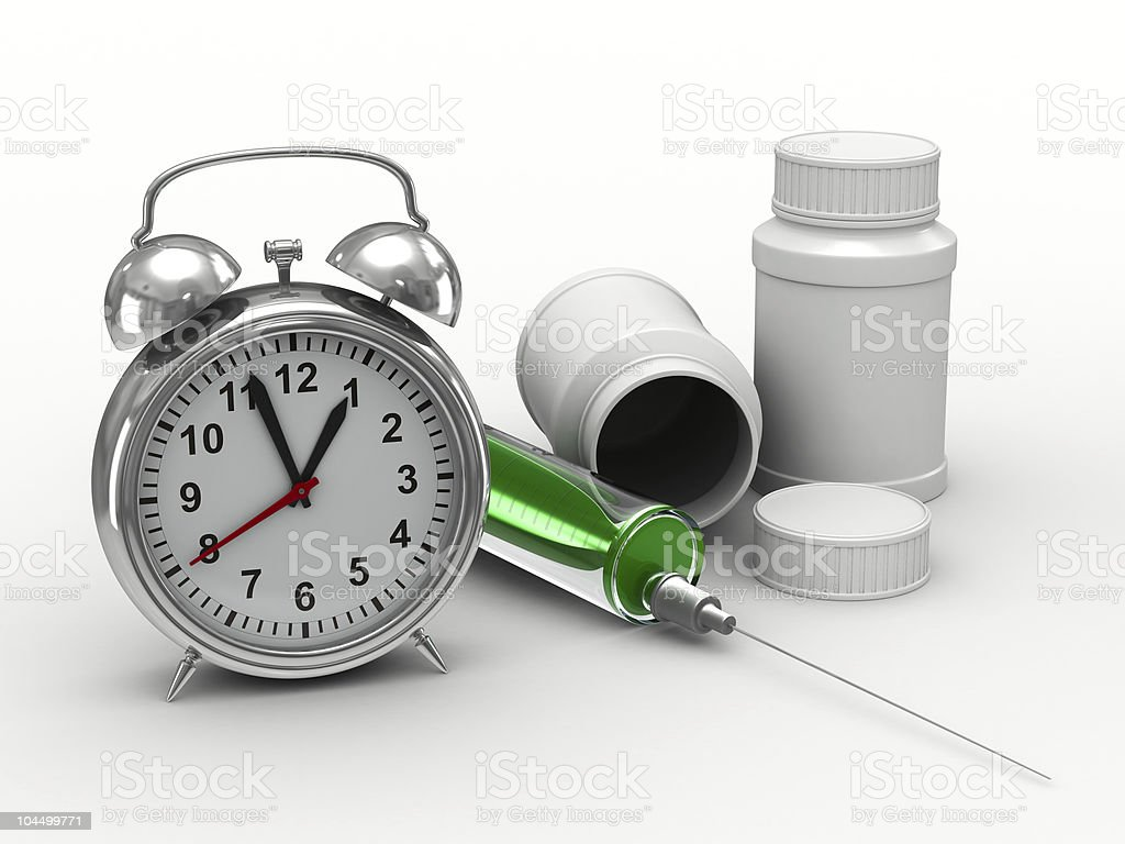 Drug intake under schedule. Isolated 3D image royalty-free stock photo
