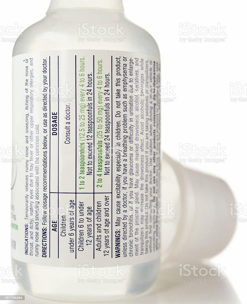 Drug label. stock photo