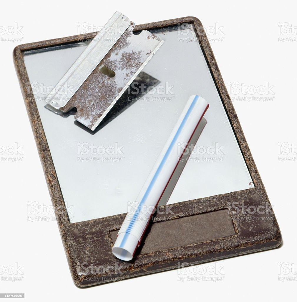 drug paraphernalia cut out on white stock photo