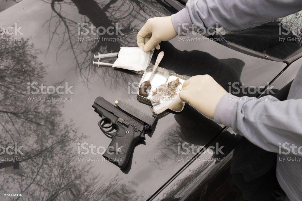 Drug, Police Officer Seized, Gun, Austria, stock photo