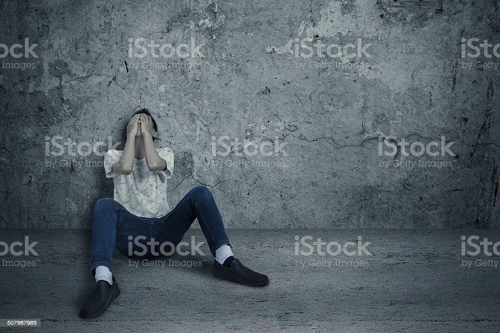 Drug user fear stock photo