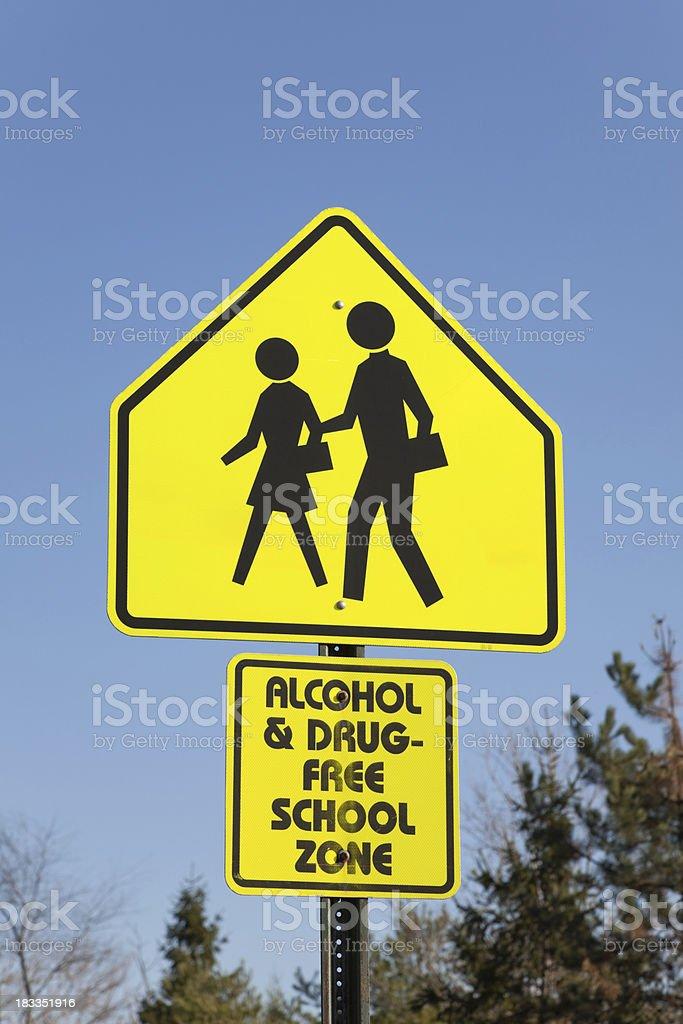 Drug-Free School Zone royalty-free stock photo
