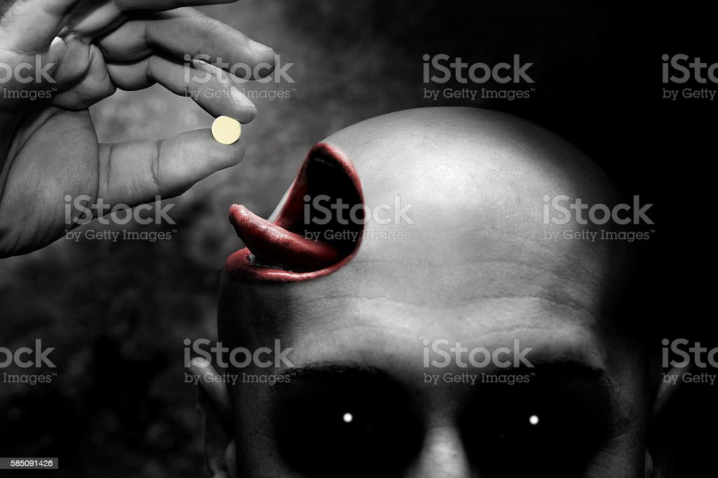 drugs addict has hallucination stock photo