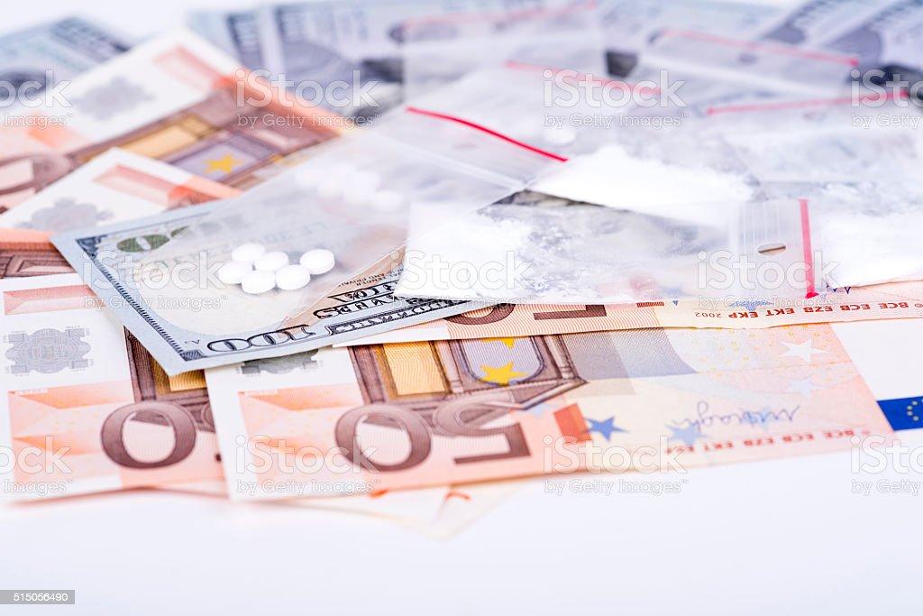 drugs and money stock photo