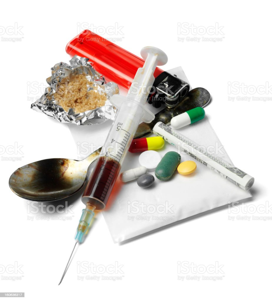 Drugs and Needle stock photo