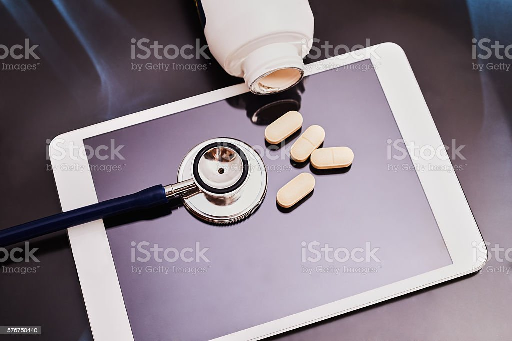 drugs and stethoscope stock photo