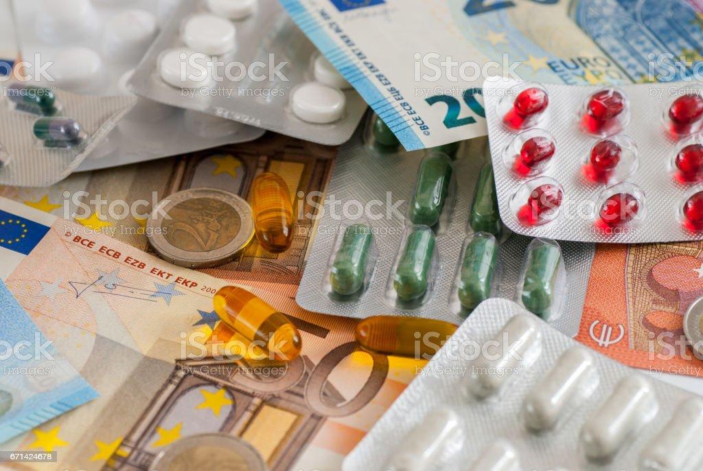 drugs medicine and money big pharma concept stock photo
