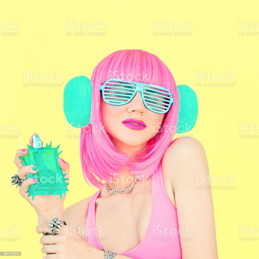 drum and bass girl with exclusive perfume stock photo