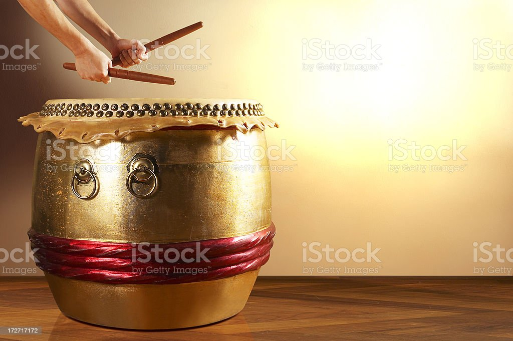 Drum and hand 2 stock photo
