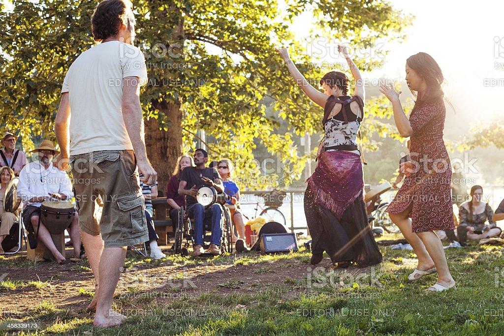 Drum circle dancers royalty-free stock photo