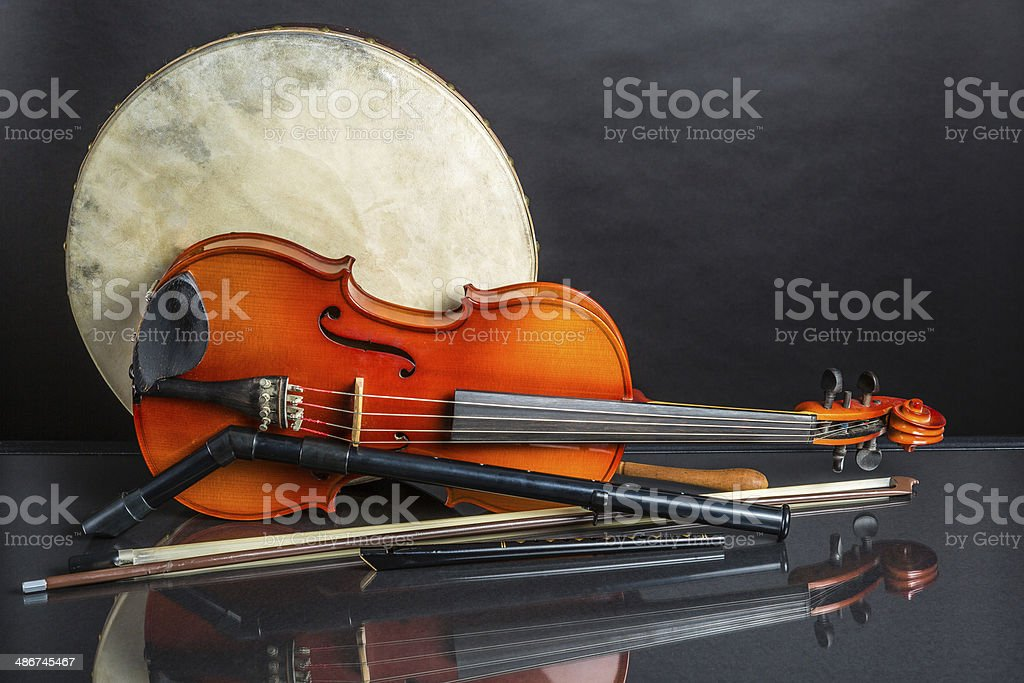 Drum Fiddle and whisles stock photo