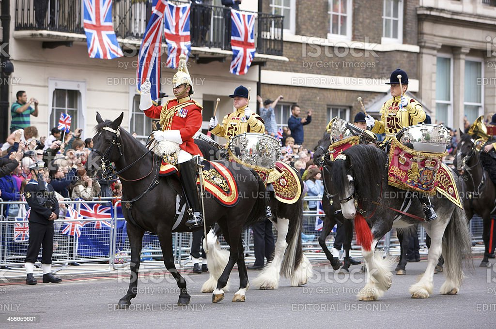 Drum horses for the Queen's Diamond Jubilee state procession royalty-free stock photo