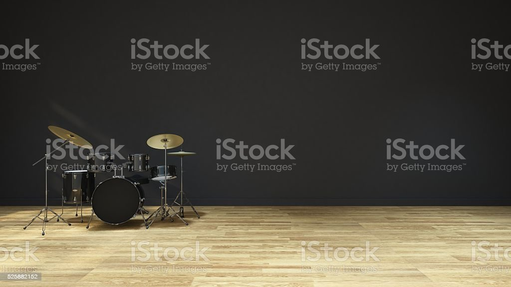 Drum in Music room - Interior design 3D Rendering stock photo