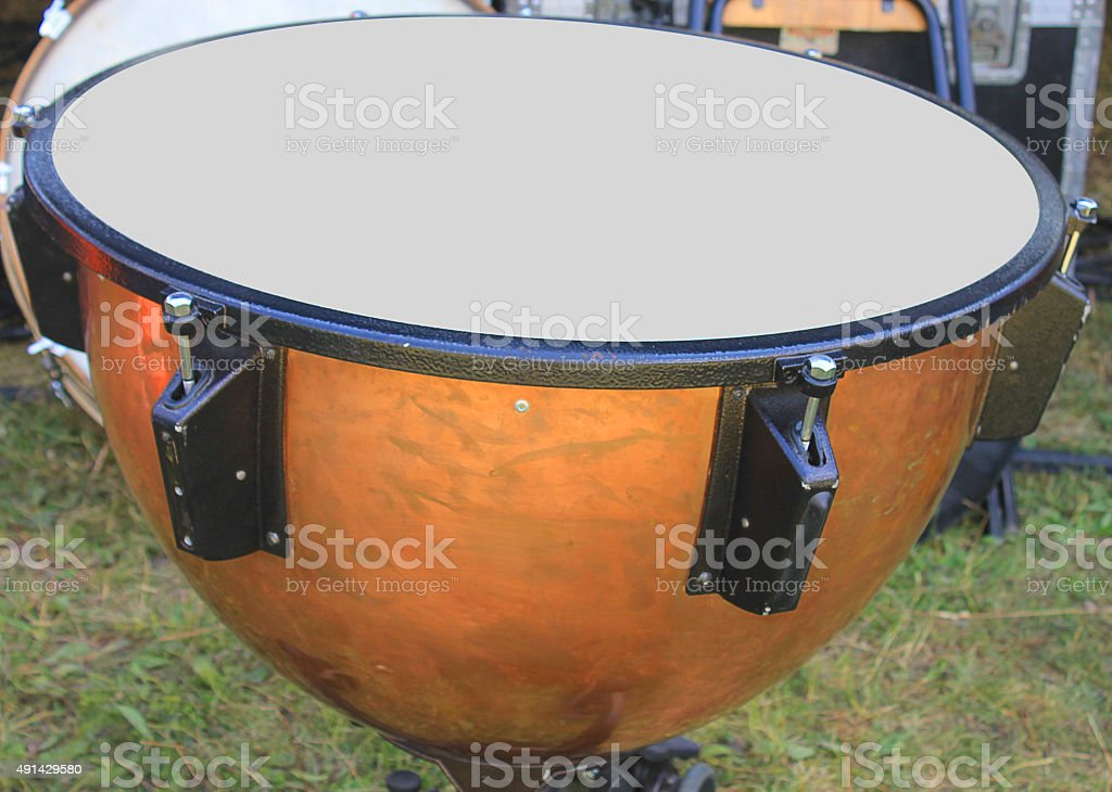 drum in the grass stock photo