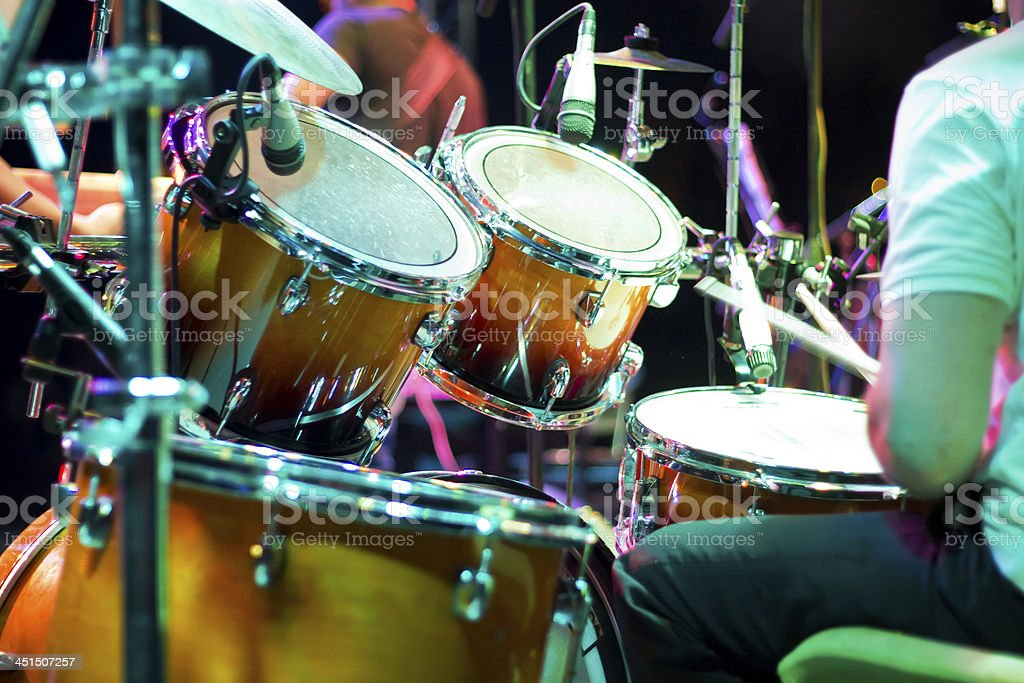 Drum кit on the stage stock photo