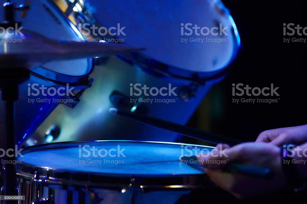 Drum kit at a concert stock photo
