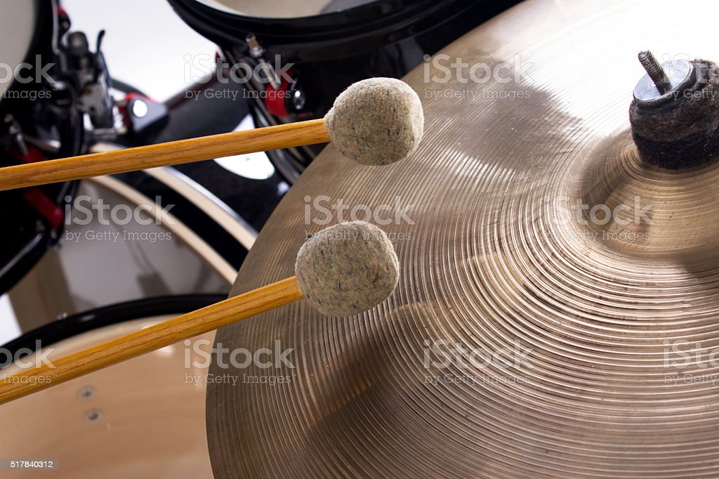Drum kit in action stock photo