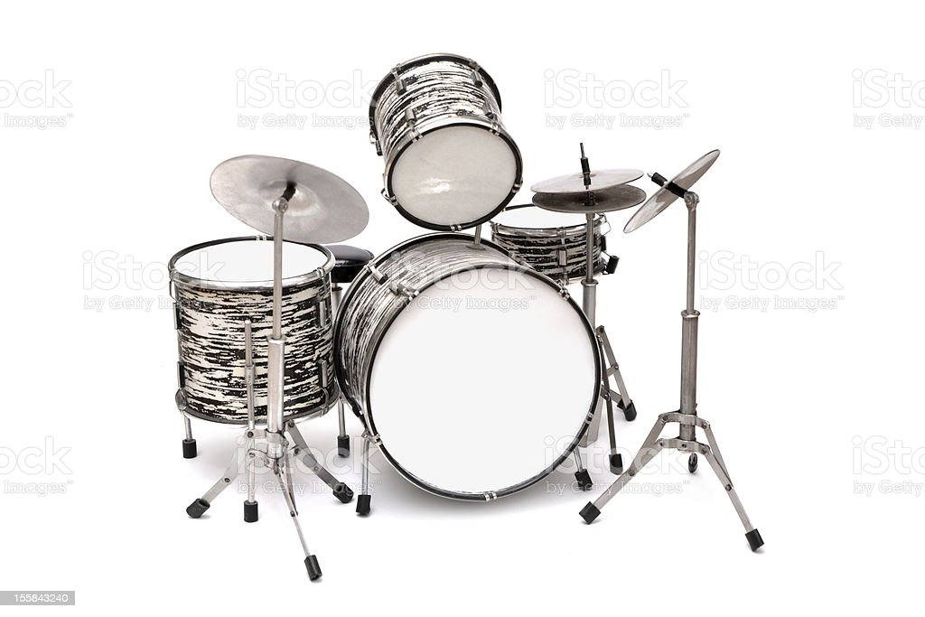Drum Kit on a white background stock photo