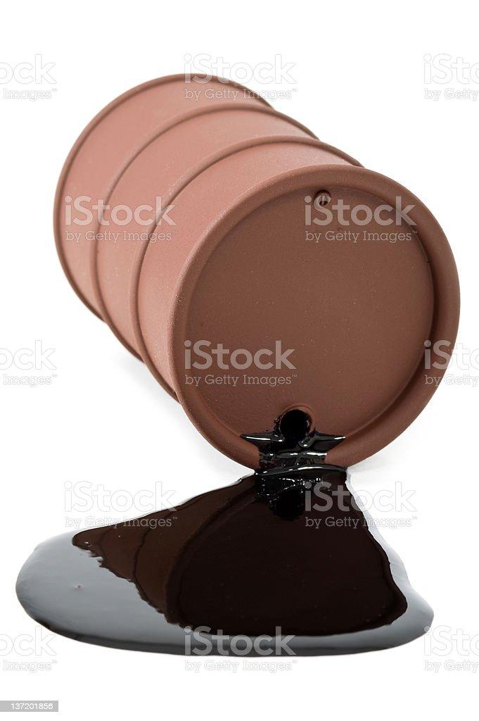 Drum leaking crude oil stock photo
