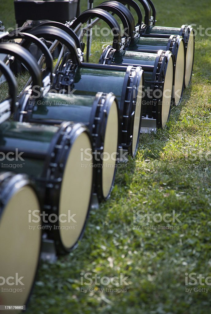 drum line and harnesses on ground stock photo