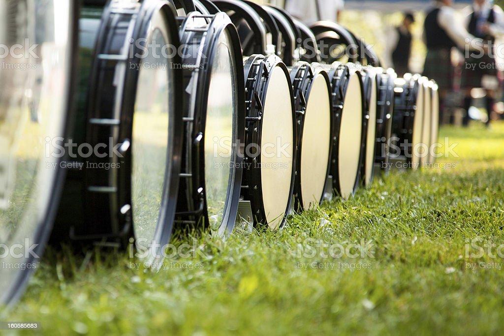 Drum Line on Ground stock photo