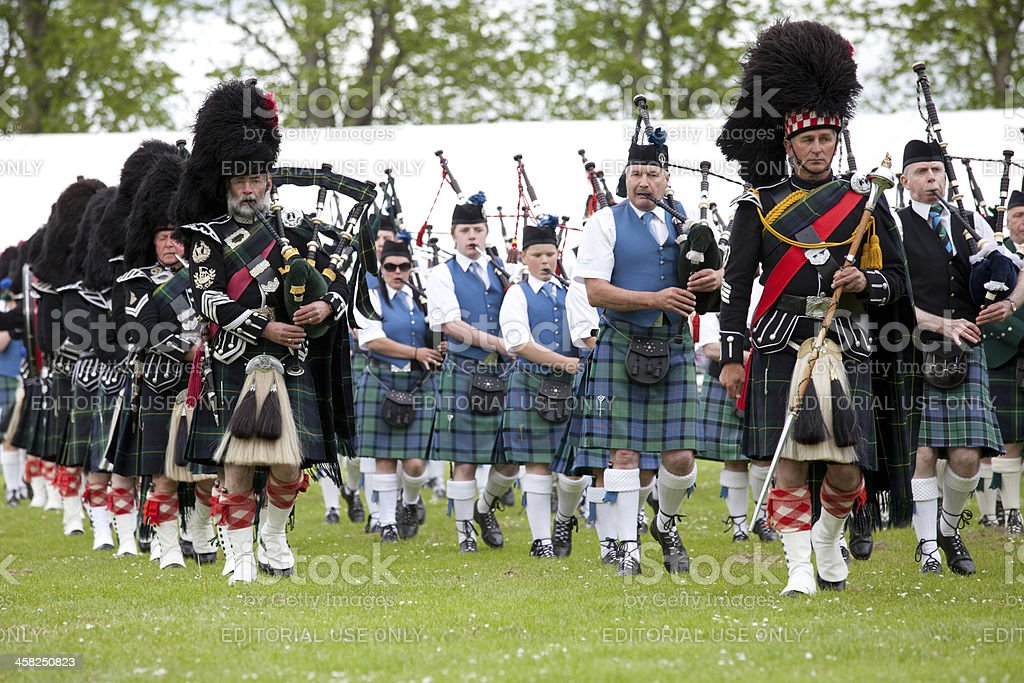 Drum Major and Pipe Band at Oldmeldrum Highland Games, Scotland stock photo