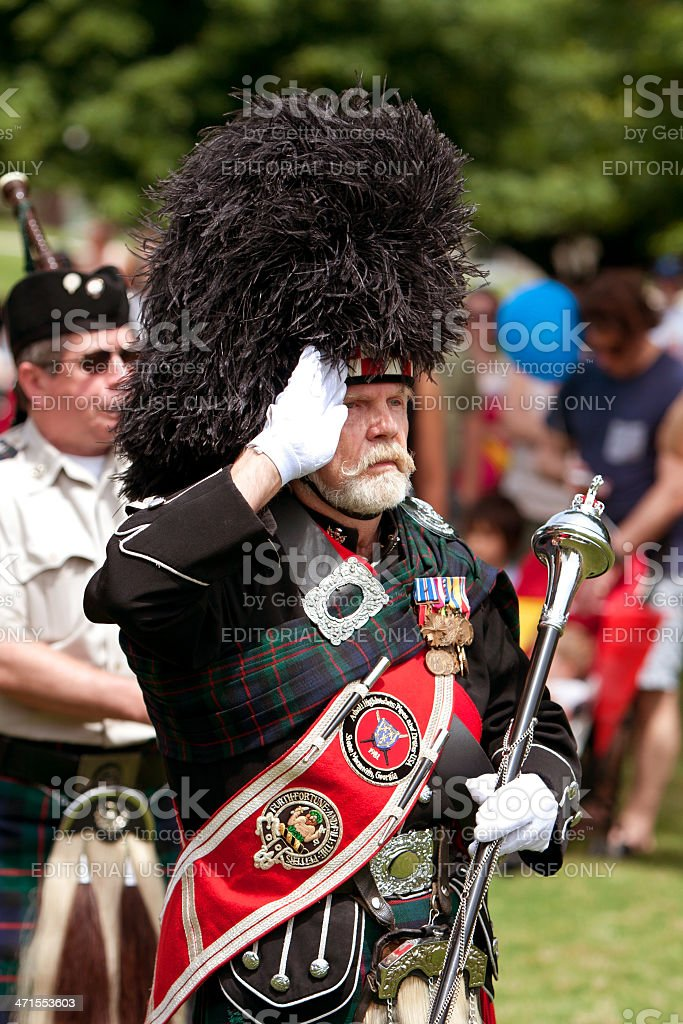 Drum Major Leads Bagpipes Unit At Spring Festival royalty-free stock photo