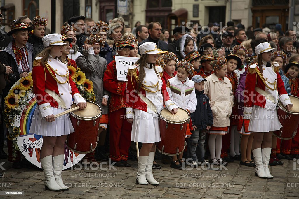 Drum Majorettes, Lviv, Ukraine stock photo