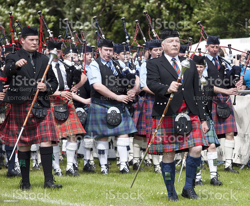 Drum Majors and Marching Band at Aberdeen Highland Games, Scotland royalty-free stock photo