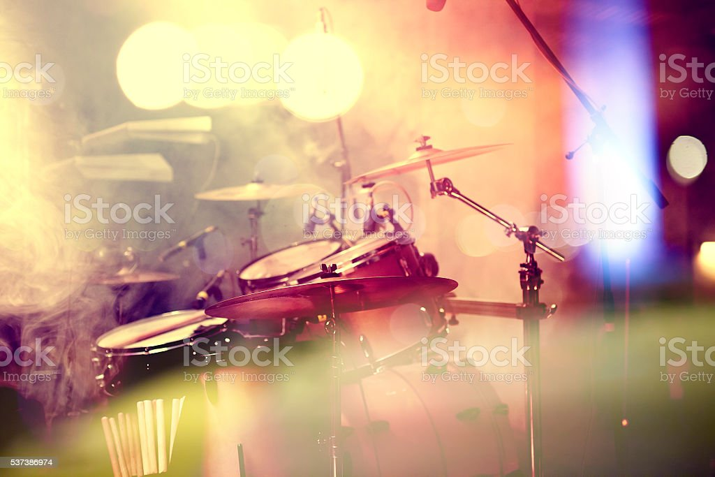 Drum on stage stock photo
