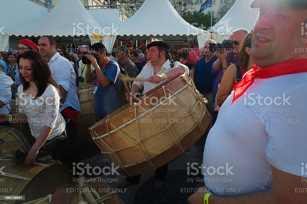 Drum Player in Lisbon royalty-free stock photo