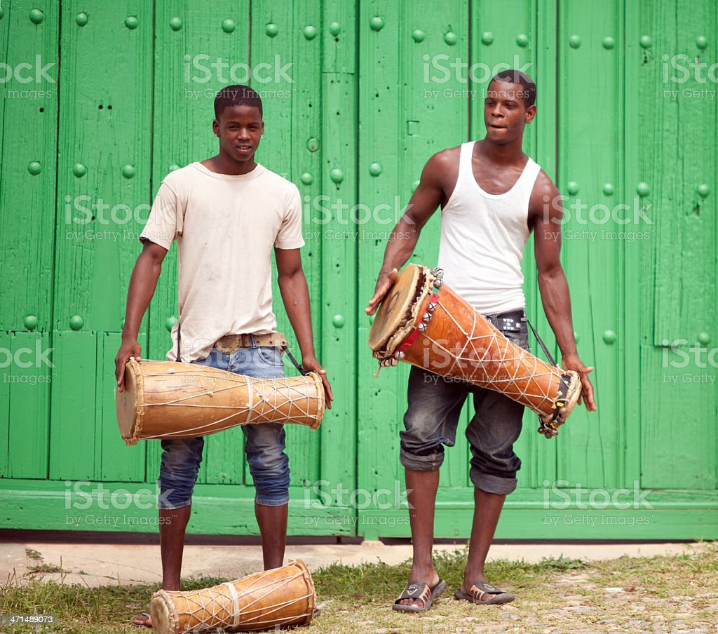 Drum players in Cuba royalty-free stock photo