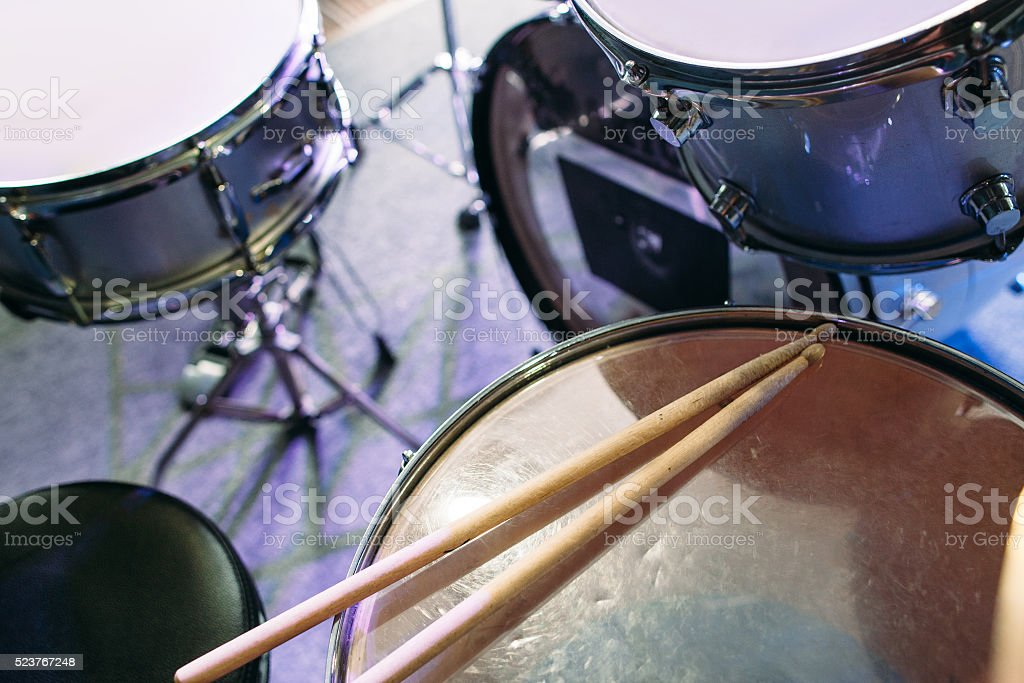 Drum set and drumsticks. Top view stock photo