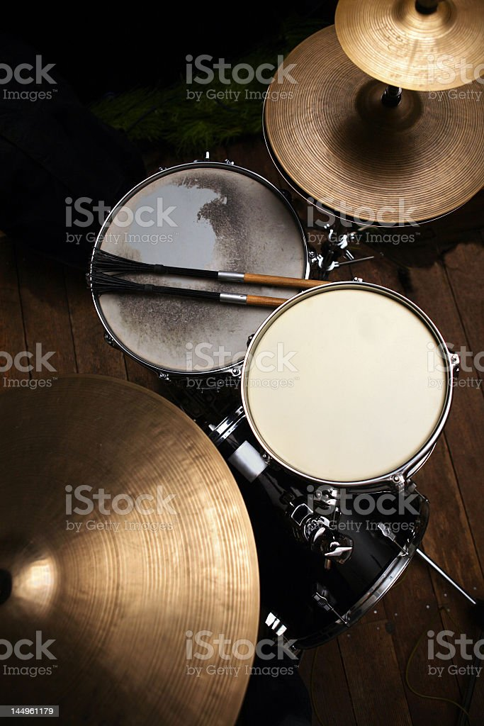 Drum set in a studio with drum sticks royalty-free stock photo
