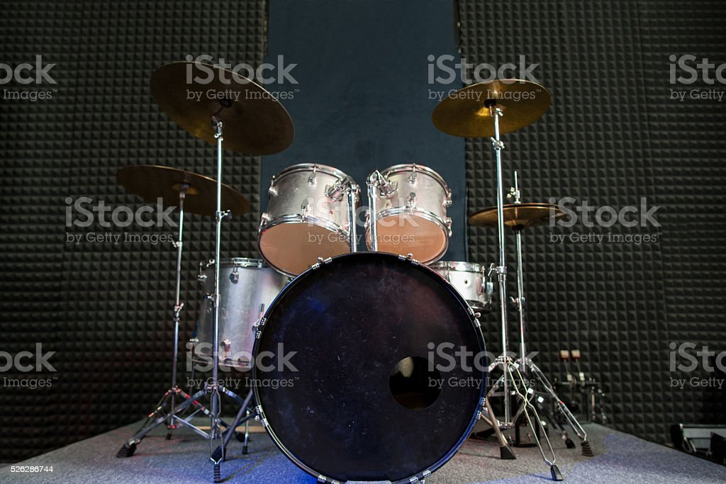 Drum set on stage prepared for playing. stock photo