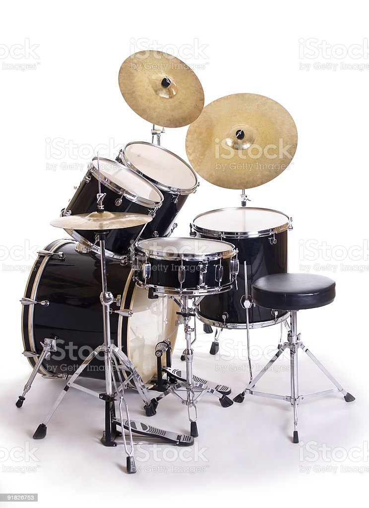 drum set on white five royalty-free stock photo
