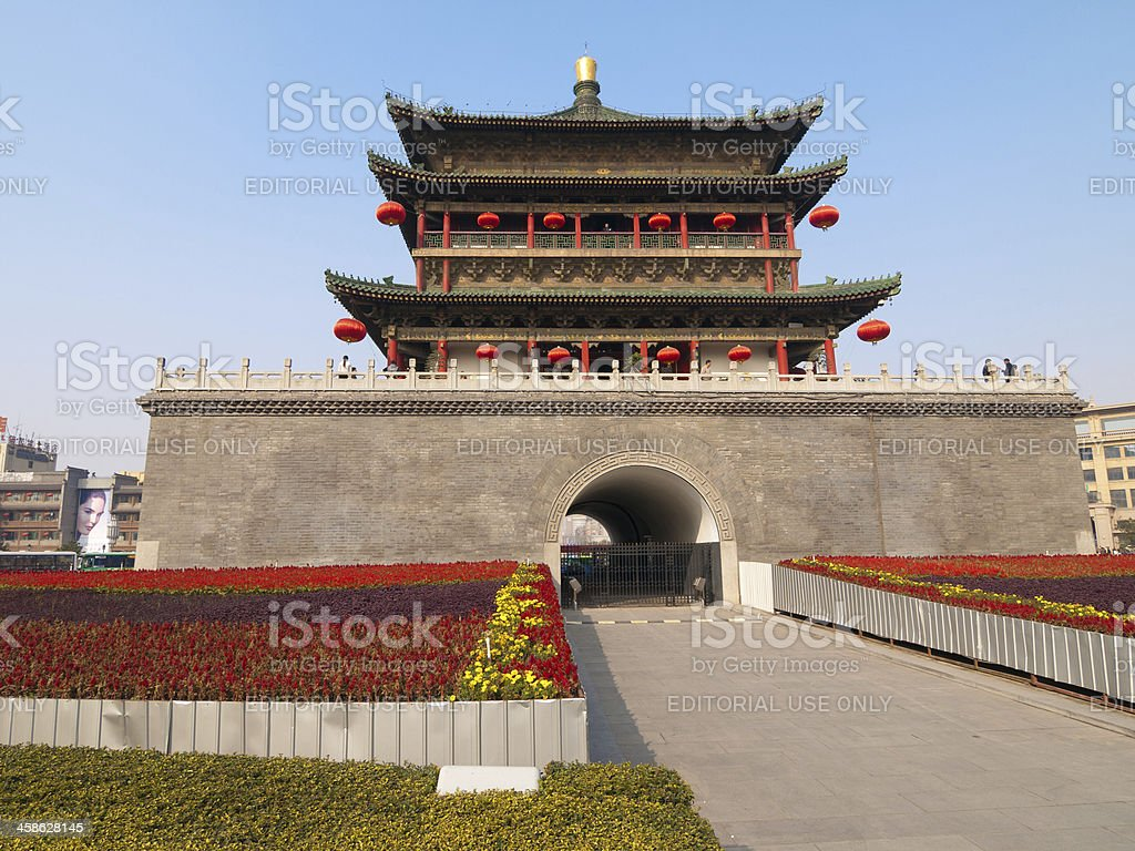 Drum tower in Xian, China stock photo