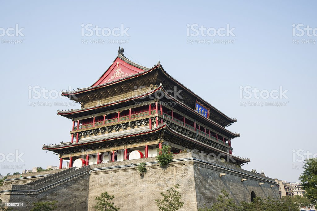 Drum tower in xi'an of china stock photo