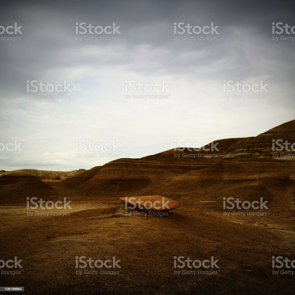Drumheller Badlands Under Grey Sky stock photo