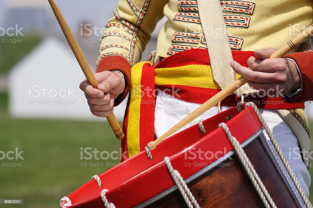Drummer 19th Century Soldier With Drum royalty-free stock photo