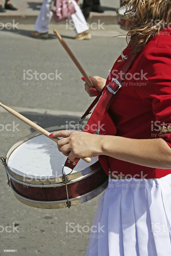 Drummer girl. royalty-free stock photo