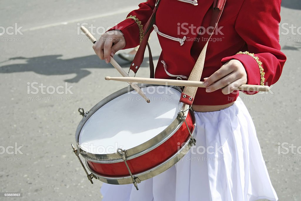 Drummer girl. stock photo