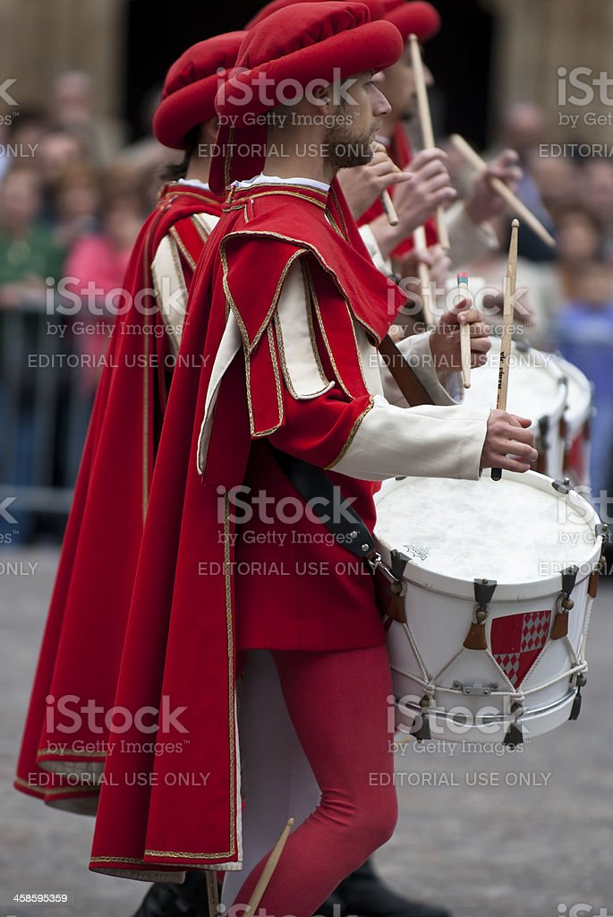 Drummer in medieval reenactment costumes royalty-free stock photo