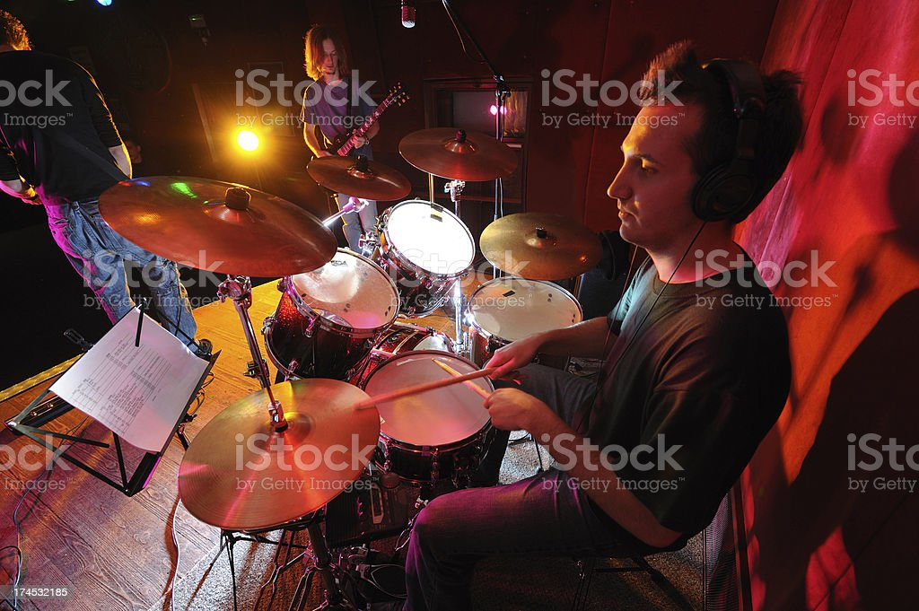 Drummer in the action royalty-free stock photo