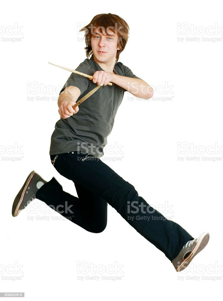 drummer man jumping stock photo