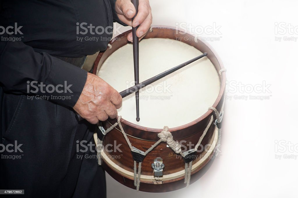 Drummer of a folk band. stock photo
